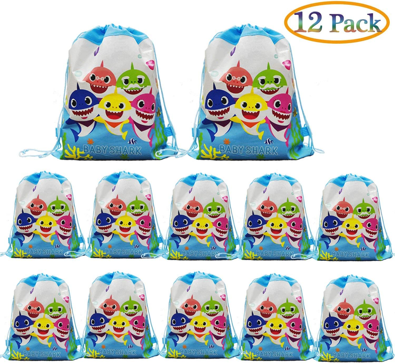12 pcs Baby Shark Drawstring Backpack, Cute Shark Gift Favor Bags for Shark Party Shark Birthday party Supplies