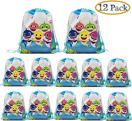 Amazon.com: 12 bolsas con cordón para regalo de tiburón para ...