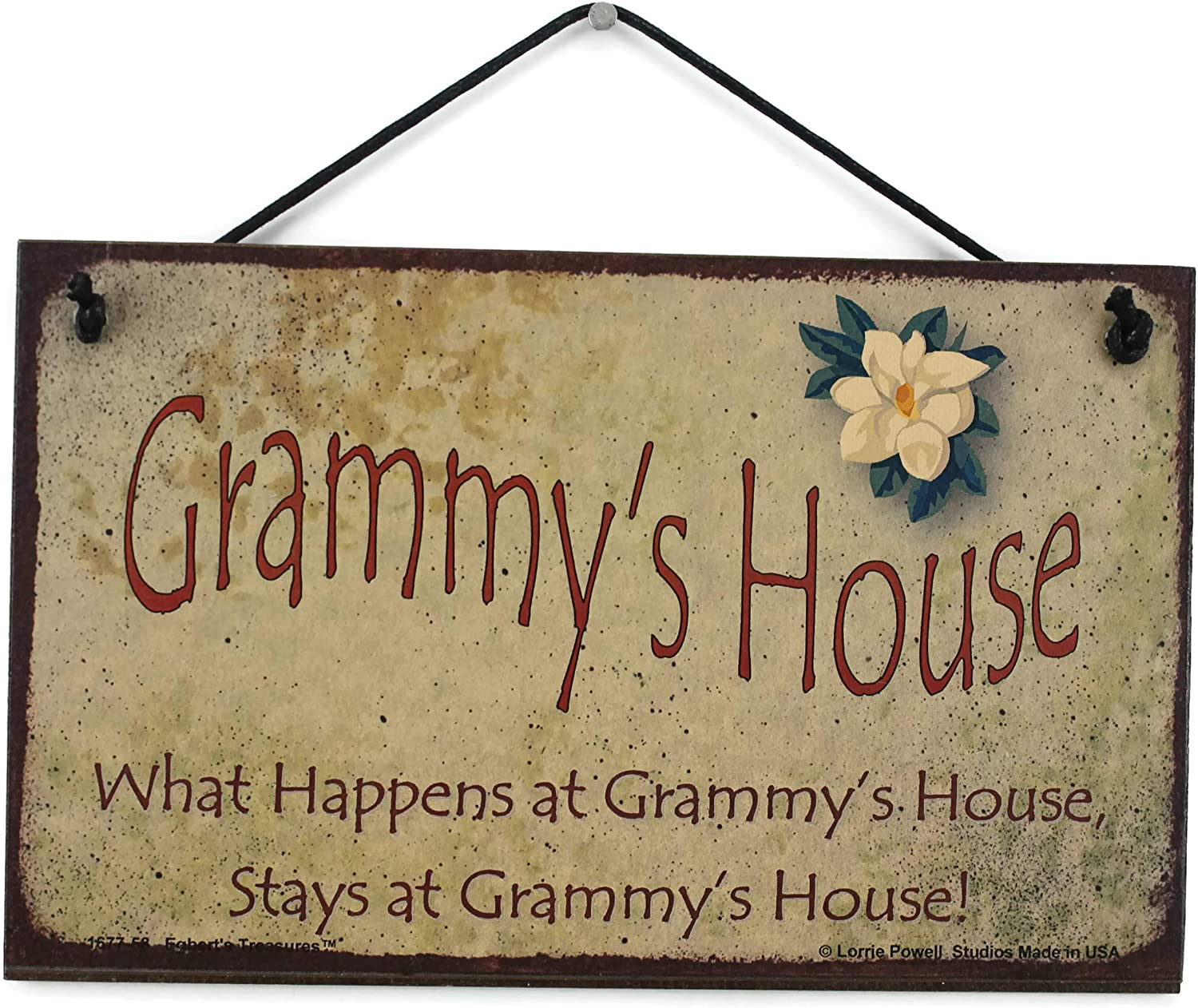 """5x8 Vintage Style Sign with Magnolia Flower Saying, """"Grammy's House What Happens at Grammy's House, Stays at Grammy's House!"""" Decorative Fun Universal Household Family Signs for Grandma (5x8)"""