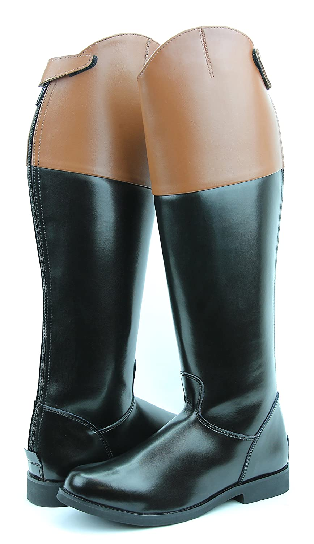 Hispar ROYAL Women Ladies Fox Hunting Hunt Dress Boots With Back Zipper Tan Top