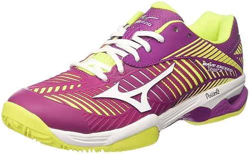 16ba2fbca774 Mizuno Women's Wave Exceed Tour Cc WOS Tennis Shoes, Pink  (Cloverwhitesafetyyellow), ...