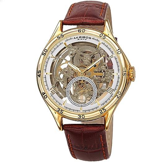 Akribos XXIV AK1066 Designer Skeleton - Reloj de Pulsera mecánico automático para Hombre, Correa de cocodrilo en Relieve: Amazon.es: Relojes
