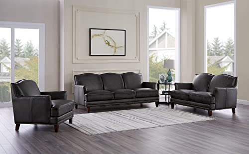 Hydeline Oxford 100 Leather Sofa Set Sofa, Loveseat, Chair, Gray