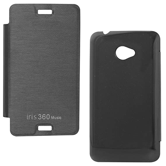 super popular 4d6da 7af84 DMG PU Leather Flip Cover Case for Lava Iris 360 Music (Black ...