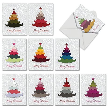 m2939xsb holiday hues 10 assorted blank christmas cards featuring graphic christmas tree image in bright - Non Photo Christmas Cards