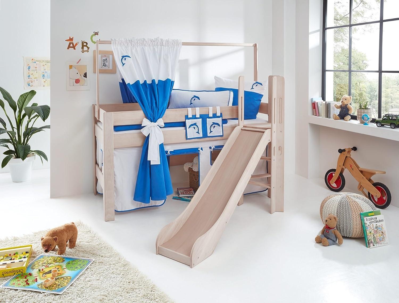 Relita Spielbett Leo, Buche massiv Weiß wash mit Rutsche und Leiter Hello Kitty Weiß Delphin