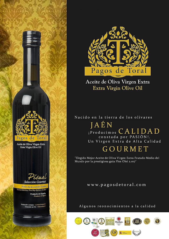 Pagos de Toral - Aceite de Oliva Premium - Picual Selección Gourmet - 500 ml - de Jaén - Mejor Aceite de Oliva Virgen Extra del Mundo - Flos Olei 2017