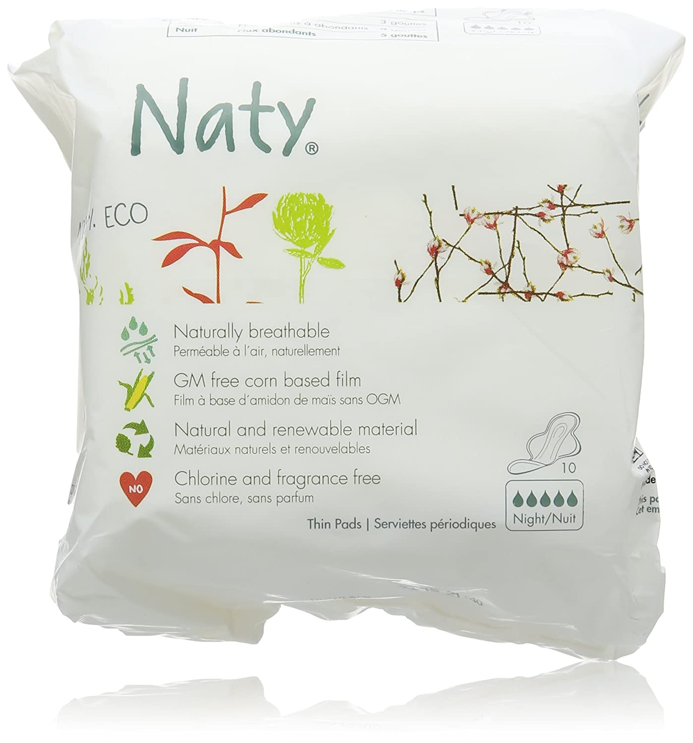 Naty Bio Sanitary Towels Night, 10 Towels Naty by Nature Babycare