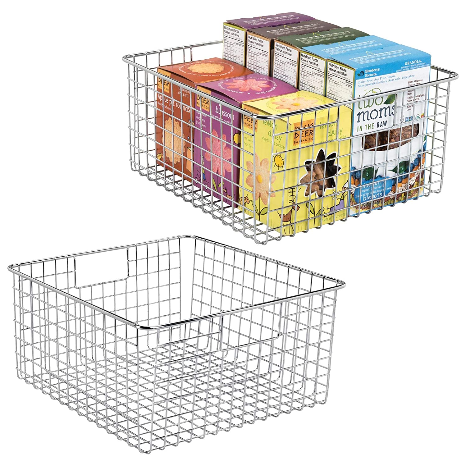 """mDesign Farmhouse Decor Metal Wire Food Storage Organizer, Bin Basket with Handles for Kitchen Cabinets, Pantry, Bathroom, Laundry Room, Closets, Garage - 12"""" x 12"""" x 6"""" - 2 Pack - Chrome"""