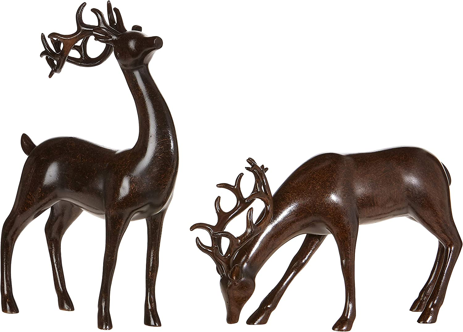 Set Of 2 Holiday Reindeer Figures 12 Inch Faux Mahogany Wood Reindeer Decor By Raz Imports Home Kitchen