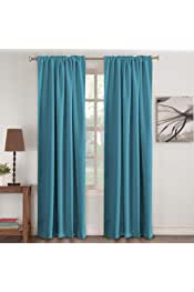 Blackout Curtain Panels - (Teal Blue Color)- Rod Pocket Blackout Draperies for Bedroom Thermal Insulating Living Room Curtain, Noise Reducing Back Tab Blackout Draperies, 52 x 96 Inch, Teal
