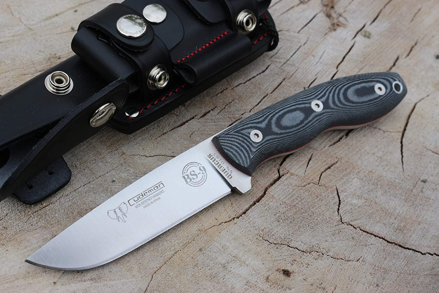Cudeman Survival Knife BS9.160-MC, Black micarta, Blade of 4.3 inches, Handle 4.9 inches, Sportive, Multiposition Sheath, Camping Tool, Hunting, Sport ...