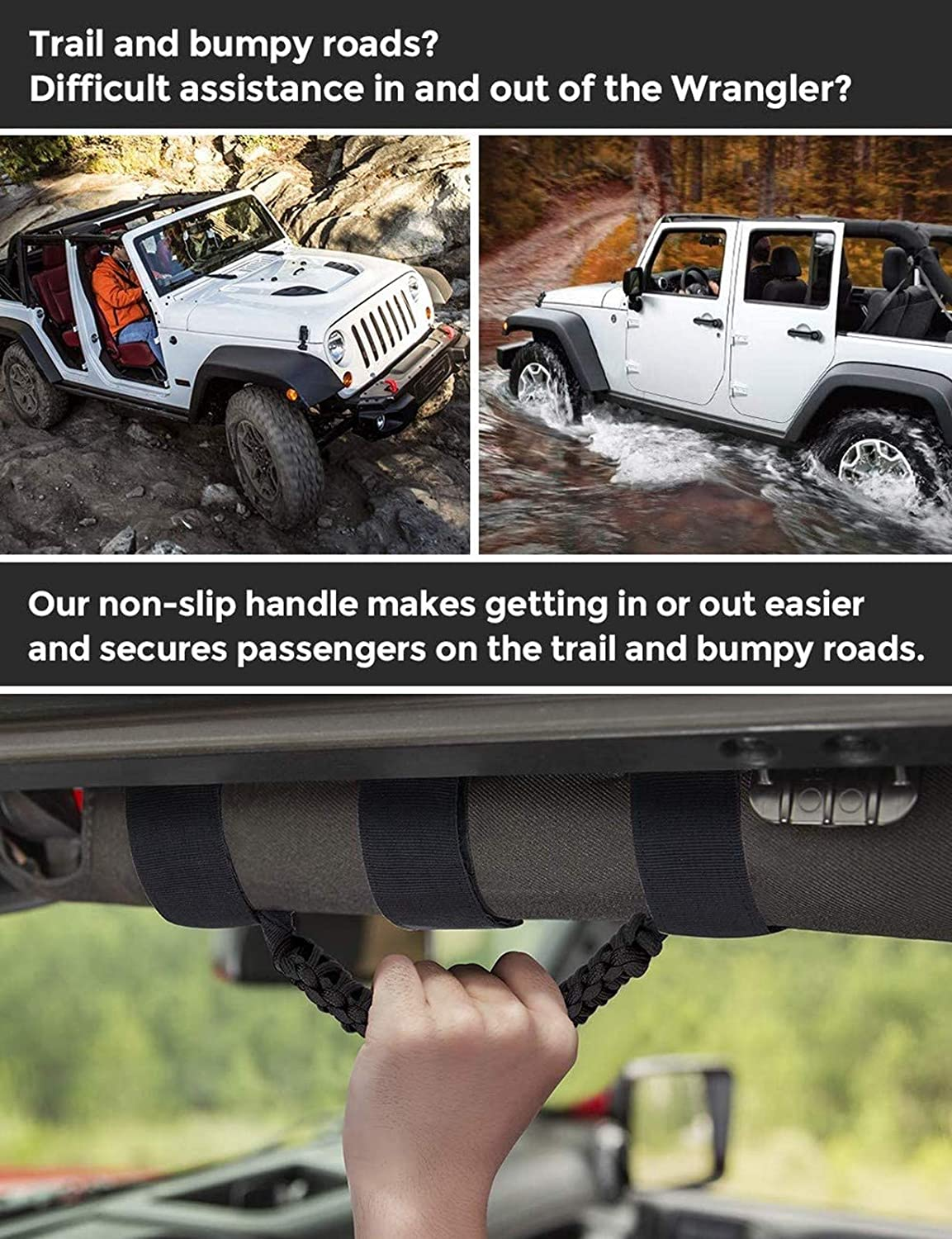 AMOSTBY 4 x Roll Bar Grab Handles Grip Handle for Jeep Wrangler YJ TJ JK JL /& Gladiator JT 1955-2020 Interior Accessories Black