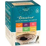Teeccino Dandelion Tea Sampler - Caramel, Coconut, Dark Roast, Mocha Mint, Red Chai, Turmeric - Caffeine Free, Gluten Free, Acid Free, 12 Tea Bags