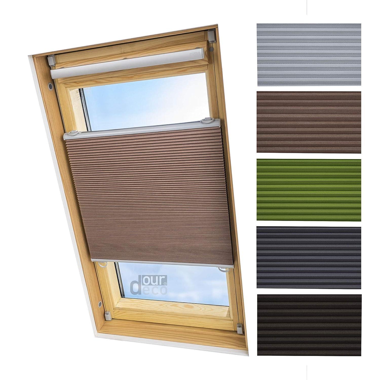 Ourdeco® Universal Dachfenster Thermo-Wabenplissee 55 x 141 cm beige(Breite x Höhe) lichtundurchlässig, verdunkelnd, Thermo- und Hitzeschutz Klemmen=Montage ohne Bohren=Smartfix=Klemmfix=Easy-to-fix