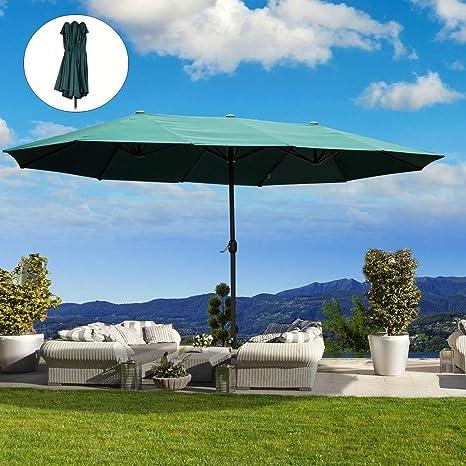 Outsunny – Sombrilla doble para jardín, con manivela verde ovalada, 460 x 270 x 240 cm: Amazon.es: Jardín