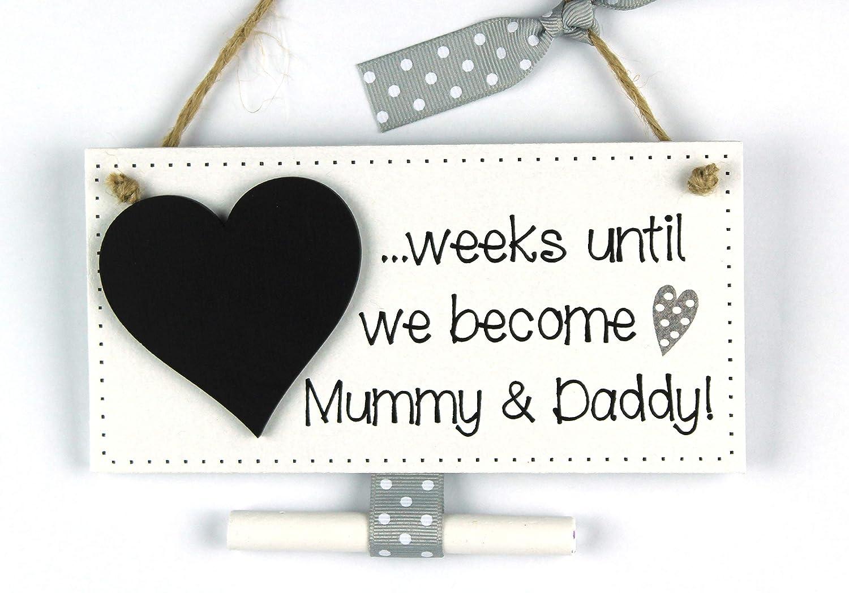 Baby countdown plaque sign Mummy /& Daddy Chalkboard