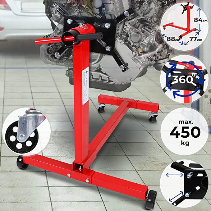 Engine Mount Support Stand With 450 Kg Loading Capacity In Red Or Blue Red Auto