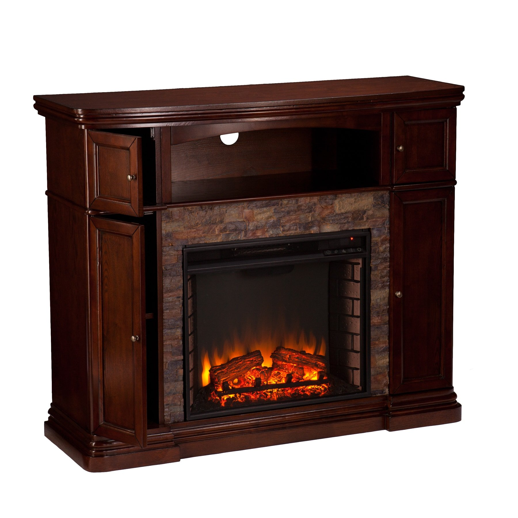 Harper Blvd Davenport Espresso Faux Stone Electric Media Fireplace by Harper Blvd (Image #4)