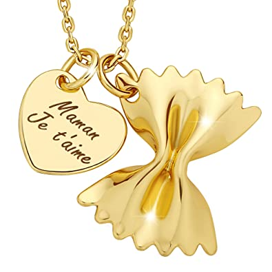 Marenja Womens Pasta Necklace Gift For Mothers Heart