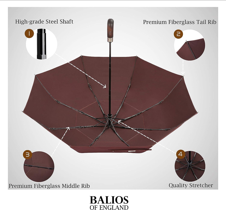 Con/çu en Angleterre Balios/® Umbrella Cadre fibre de verre en acier Ouverture et Fermeture Automatique Parapluie Pliable De Voyage 300T haute qualit/é Tissu-Double ventil/é canopy men Mesdames Noir