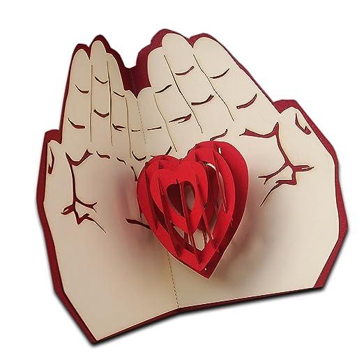 3d Pop Up Amour carte cadeau carte de vœux Cœur dans les mains danniversaire anniversaire de Saint-Valentin dinvitation Love Gifts Coque carte cadeau: ...