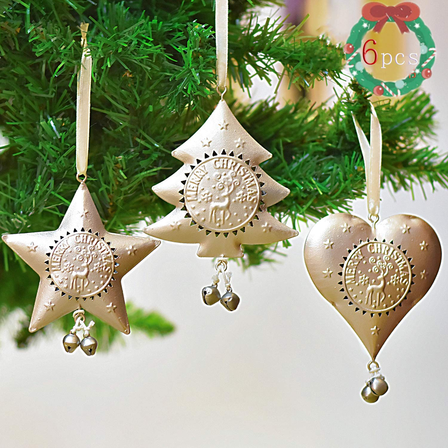 Valery Madelyn 6Pcs 11 12cm Sparkling Winter Christmas Tree