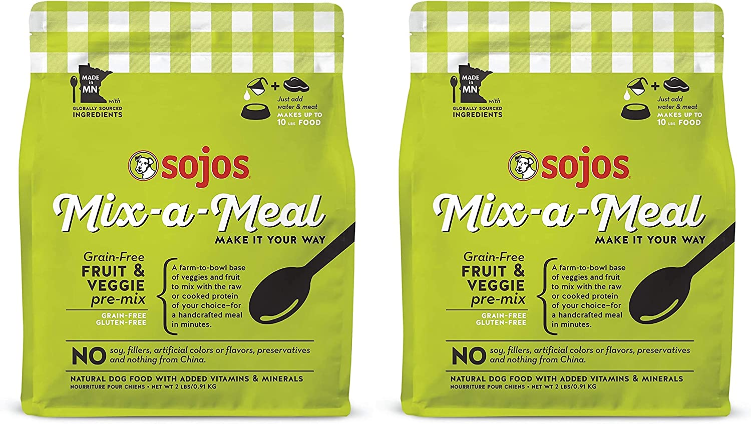 SOJOS 2 Pack of Mix-a-Meal Grain-Free Fruit and Veggie Recipe Pre-Mix Natural Dehydrated Dog Food, 2 Pounds Each