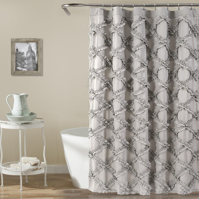 Amazon Lush Decor Ruffle Diamond Shower Curtain Gray Home Kitchen