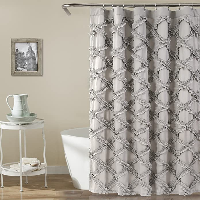 Shower Curtain Ruffle Diamond Gray - Lush Décor