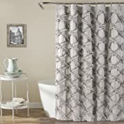 Lush Decor Ruffle Diamond Shower Curtain, 72  x 72 , Gray