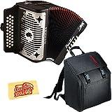Hohner Panther Diatonic Accordion - Keys F/Bb/Eb Bundle with Gig Bag and Austin Bazaar Polishing Cloth