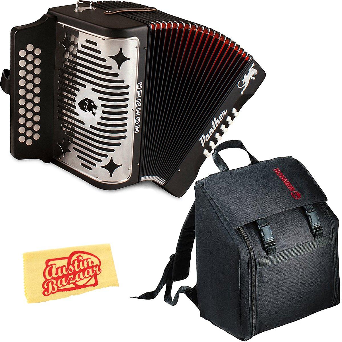 Hohner Panther Diatonic Accordion - Keys F/Bb/Eb Bundle with Gig Bag and Austin Bazaar Polishing Cloth by Hohner