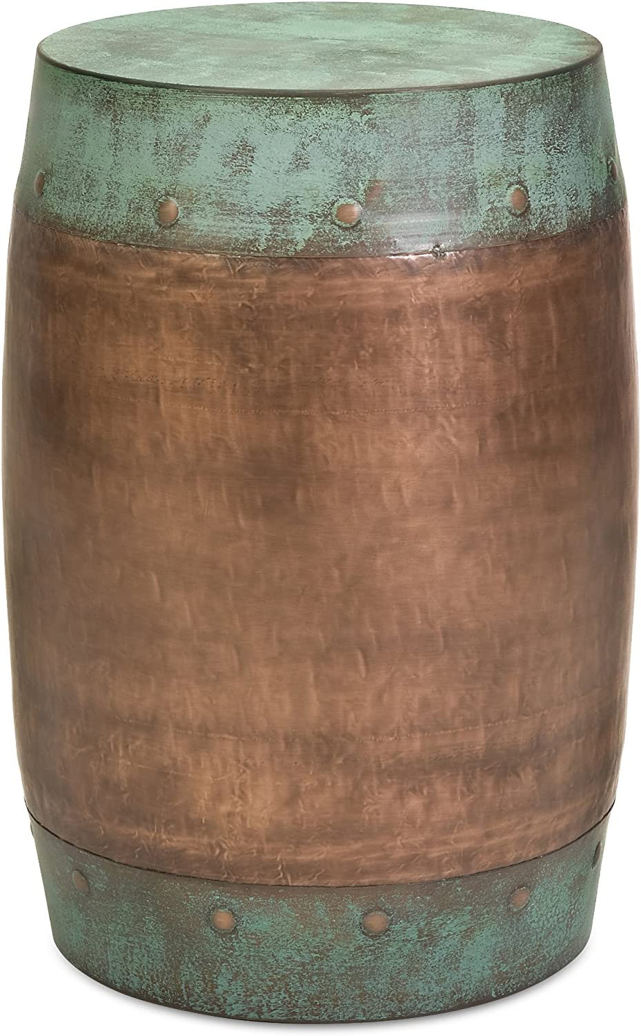 Imax 44195 Rania Copper-Plated Stool – Drum Style Stool, Decorative Accessory, Home Decor. Home Bar Furniture