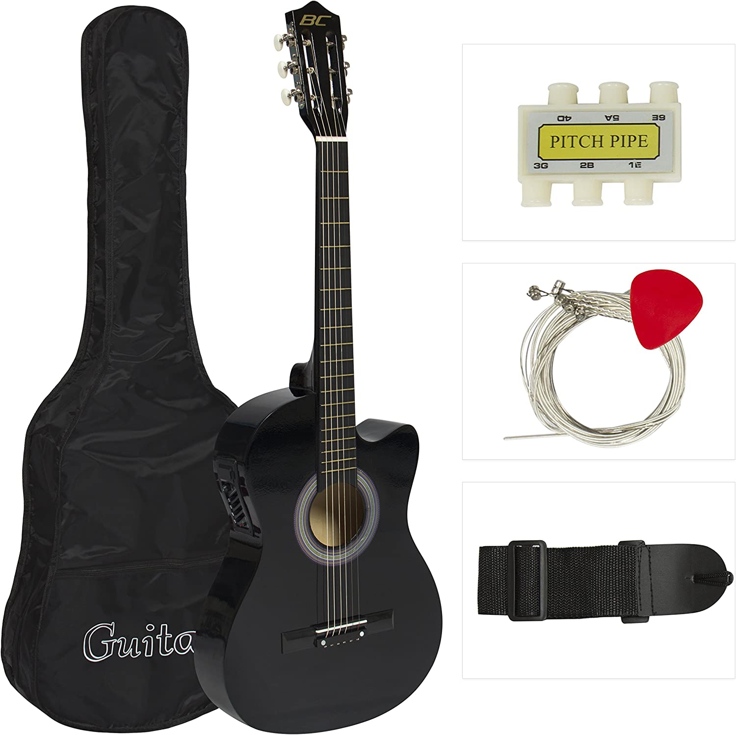 38 Inch Beginner Acoustic Guitar Cutaway Type Guitar for Starter with String and Pick Green