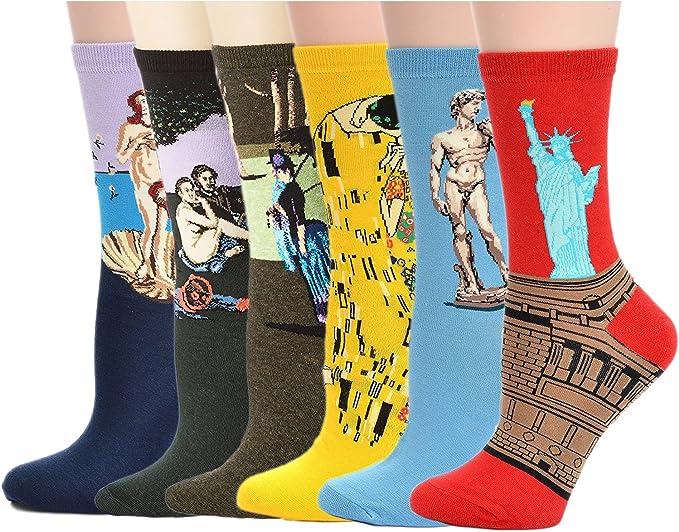 UClever Calcetines para Hombre, Pintura Famosa Medias Algodón Calcetín (6 Pares Estilo B): Amazon.es: Ropa y accesorios