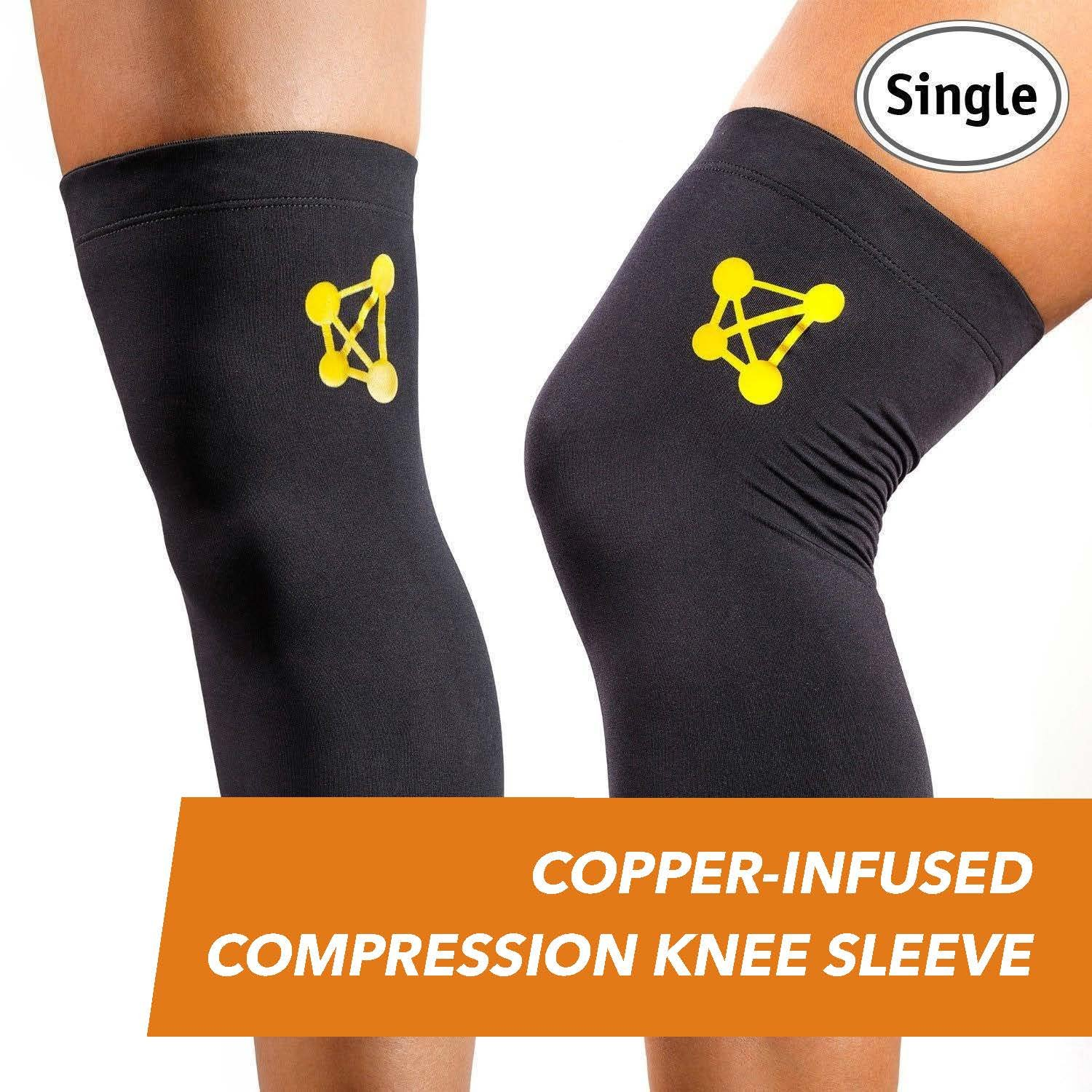 CopperJoint Copper Knee Brace, 1 Compression Fit Support - GUARANTEED Recovery Sleeve - Wear Anywhere by CopperJoint