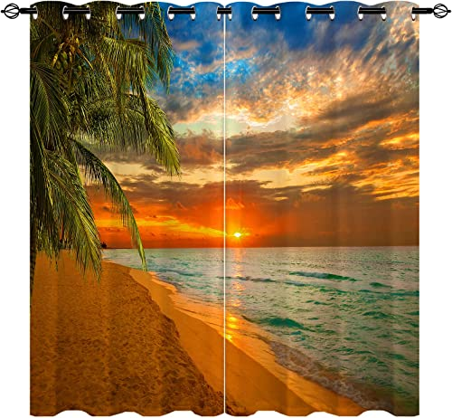 ANHOPE Sunset Curtains Grommet Blackout Beach Theme Window Drapes Review