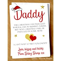 Love From Baby Bump 1st Christmas Card Poem Daddy Dad To Be Xmas Love Husband Boyfriend Partner Couple Dad to Be Love From Baby Bump 1st Christmas Daddy Cute Greeting Card Poem Daddy Fathers Cute Dad To Be Daddy Alternative Love Kid Child Quirky Love Kisses Snuggled Into Your Arms Can't Wait To Meet You Daddy
