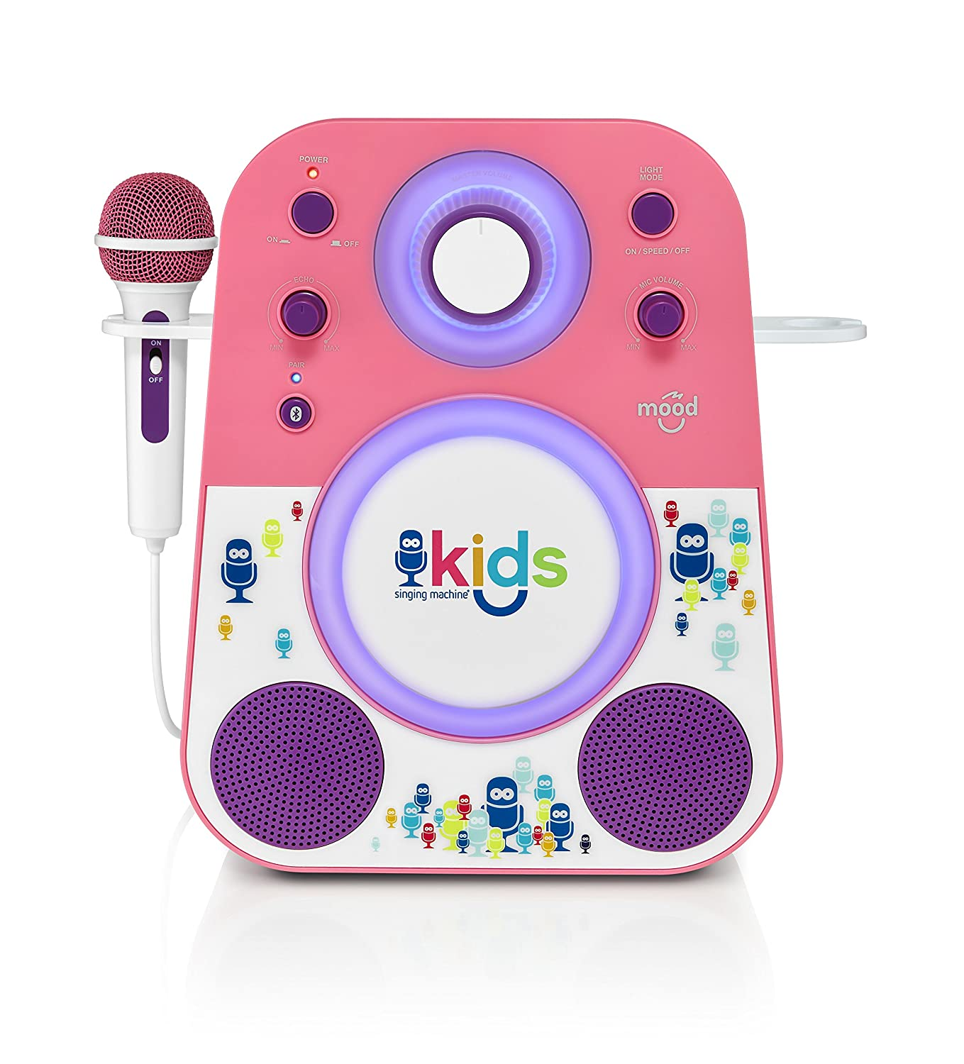Singing Machine Kids Mood LED Glowing Bluetooth Sing-Along Speaker with Wired Youth Microphone Doubles as a Night Light