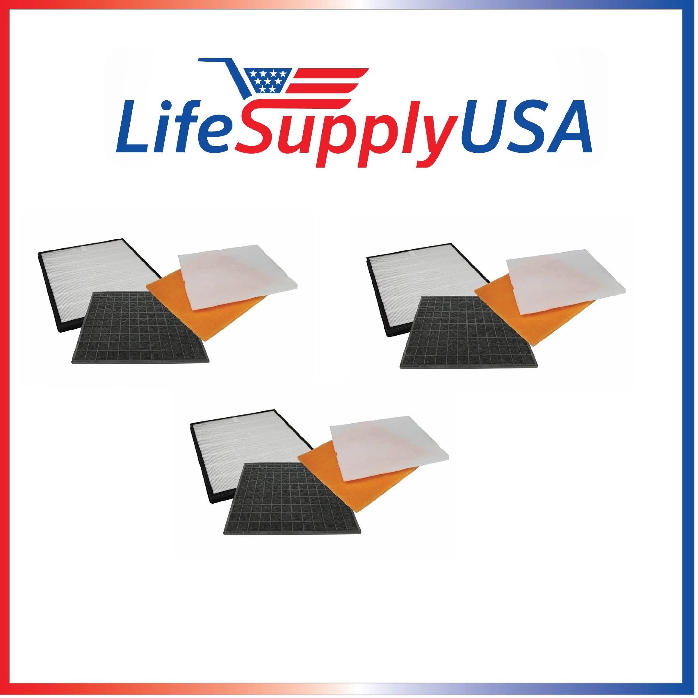 3 Pack Filter Kit Fits Rabbit Air Air Minus A2 SPA-780A & SPA-780A by LifeSupplyUSA