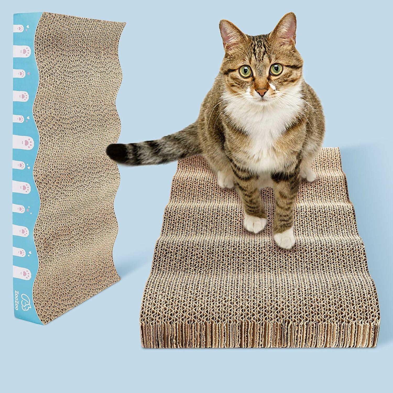 ZooZoo 2-Pack Curved Corrugated Cat Scratchers Cat Scratching Board Set Cat Scratching Post