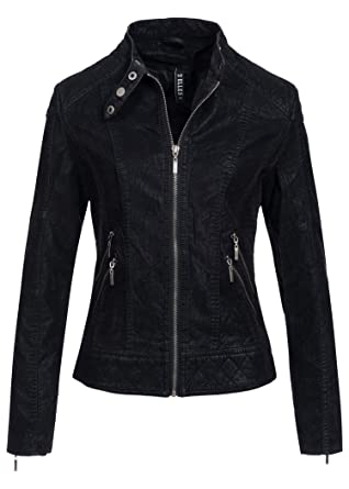 Veste noire col cuir