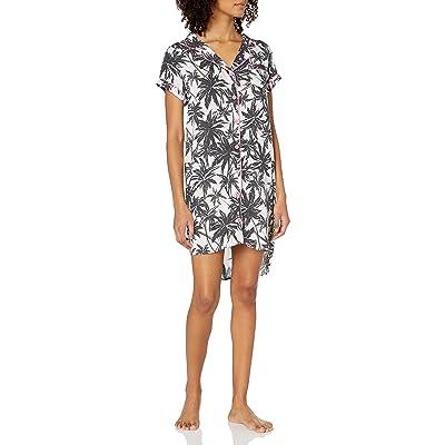Brand - Mae Women's Sleepwear Lightweight Woven Notch Collar Sleep Shirt: Clothing