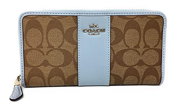 check out ebfb1 4a131 COACH F54630 ACCORDION ZIP WALLET IN SIGNATURE CANVAS PALE ...