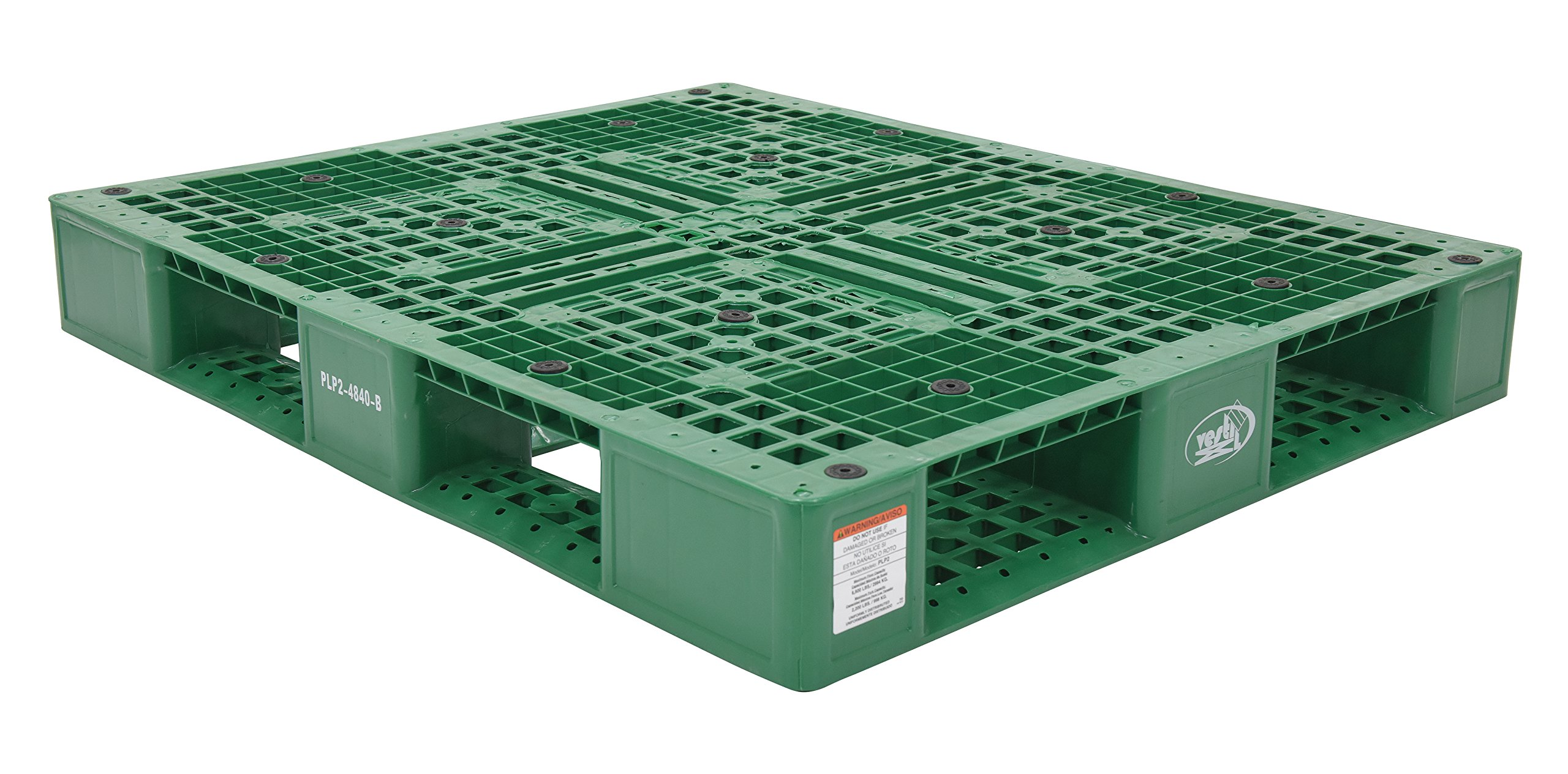 Vestil PLP2-4840-GREEN Green Polyethylene Pallet with 4 Way Entry, 6600 lbs Capacity, 39.5'' Length, 47.375'' Width, 6'' Height