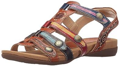 L'Artiste by Spring Step Women's Gipsy Flat Sandal, Camel Multi, 35 EU