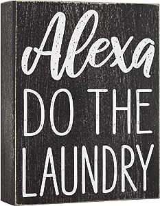 Elegant Signs Alexa Do The Laundry Box Sign - Laundry Room Decor - 6x8 Funny Wooden Farmhouse Decoration for Home