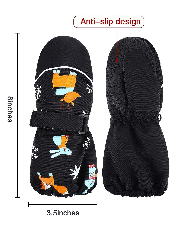 Kids Thicken Snow Mittens Unisex Waterproof Ski Mitten Winter Warm Gloves for Kids Aged 2-6 Years