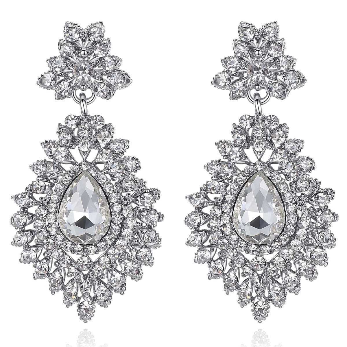 mecresh Silver Wedding Teardrop Dangle Earrings for Bride or Women